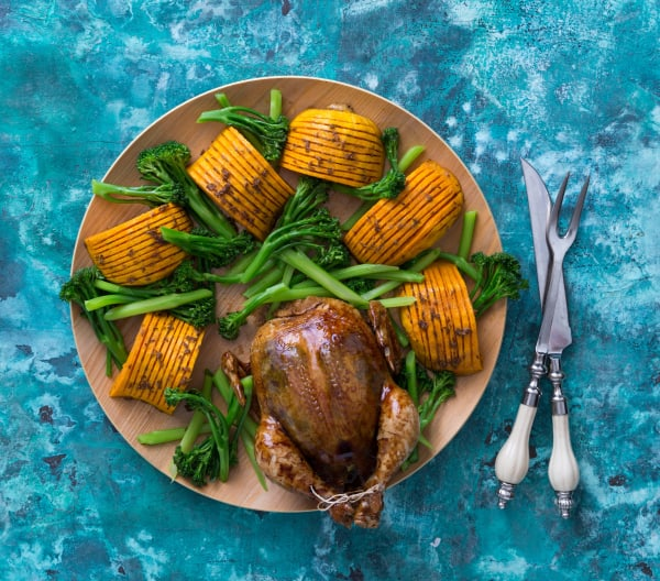 Glazed chicken with hasselback pumpkin