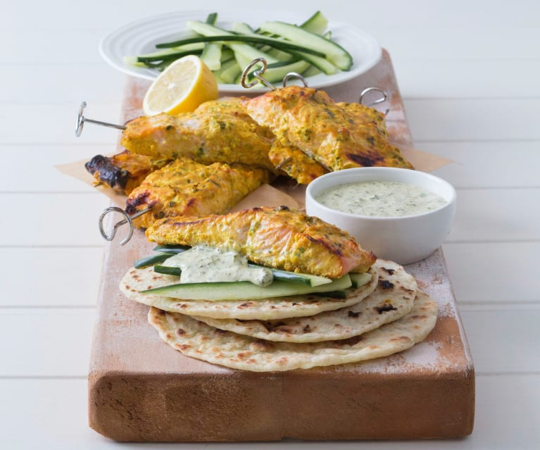 Salmon kebabs with coriander chilli mayonnaise