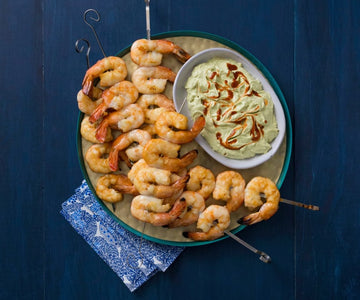 Smoked prawn kebabs with avocado whip