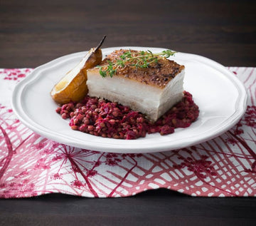 Twice-cooked pork belly with lentils