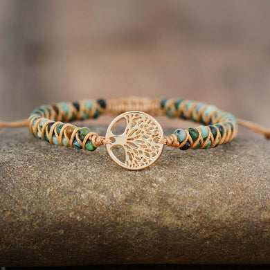 Tree Charm Bracelets African Japser String Braided Bracelets Yoga Friendship Lover