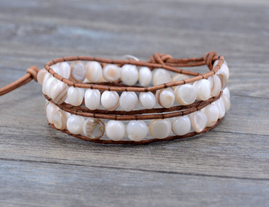 Natural Random Shape Shell Beads Leather Wrap Bracelet Multi Layered