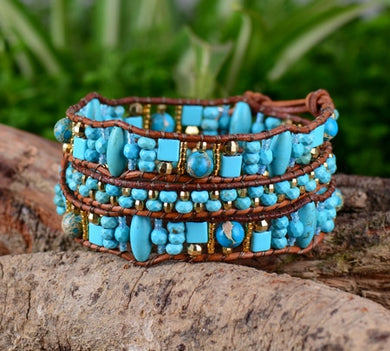 Quality Random Shape Stone Seed Beads Leather Wrap Bracelet Fashionable Vintage