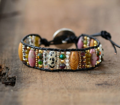 Mixed Natural Stones Single Leather Wrap Bracelet Semi Precious Stone Beaded Cuff