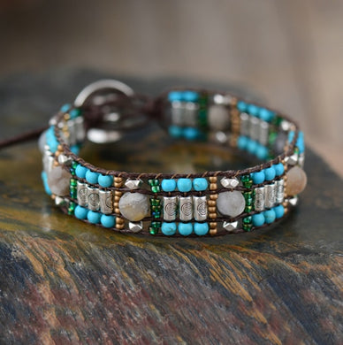 New Cuff Bracelets Natural Stones Seed Beads Wrap Bracelets Bohemian Weaving
