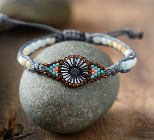 Frosted Amazonite Beaded Woven Wrap Bracelet Unique Handmade Friendship