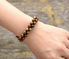 Load image into Gallery viewer, Vintage Wood Black Cord Braided Bracelet Handmade Mens Beads Punk