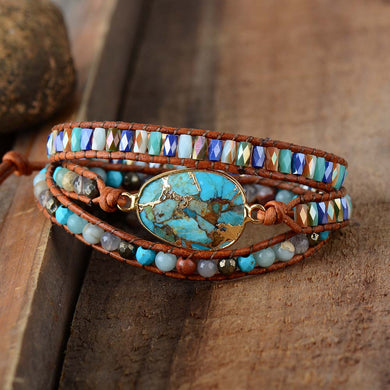 Gilded Natural Stones Vintage Leather Wrap Bracelet Girl Beach Holiday