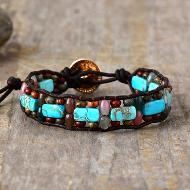 Natural Stones Vintage Leather Bracelet Couples Unisex Bangle Bracelets Creative