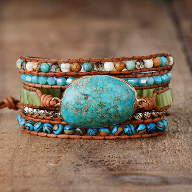 Wrap Bracelets Natural Stones 5 Layers Leather Cuff Bracelet Femme Bracelets