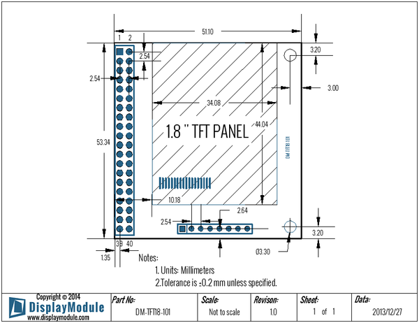 DM-TFT18-101 Display Module dimensions
