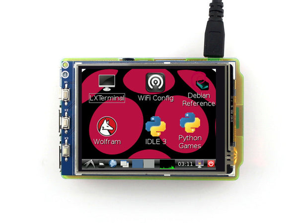 "3.2"" 320X240  Display for Raspberry Pi with Resistive Touch"