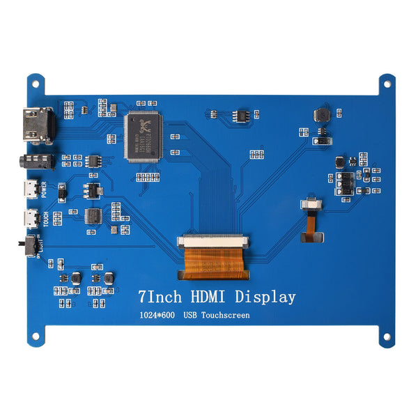"7"" 1024x600 HDMI Display for Raspberry Pi with USB Capacitive Touch w/o driver"