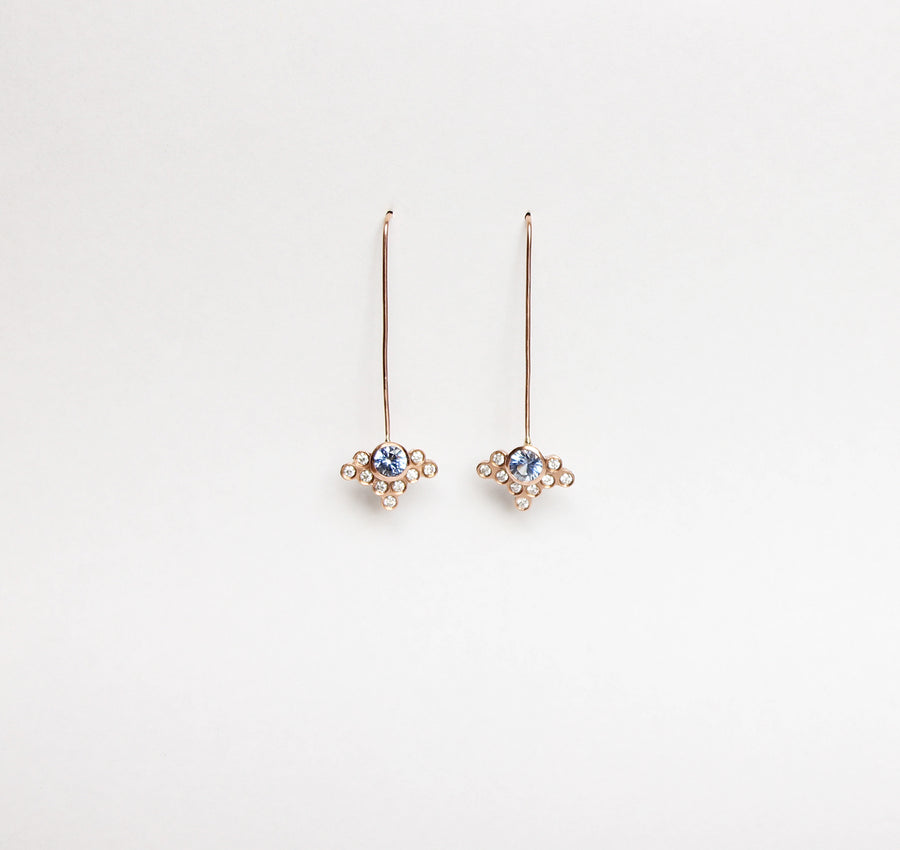 Marguerite earrings Ceylon sapphires