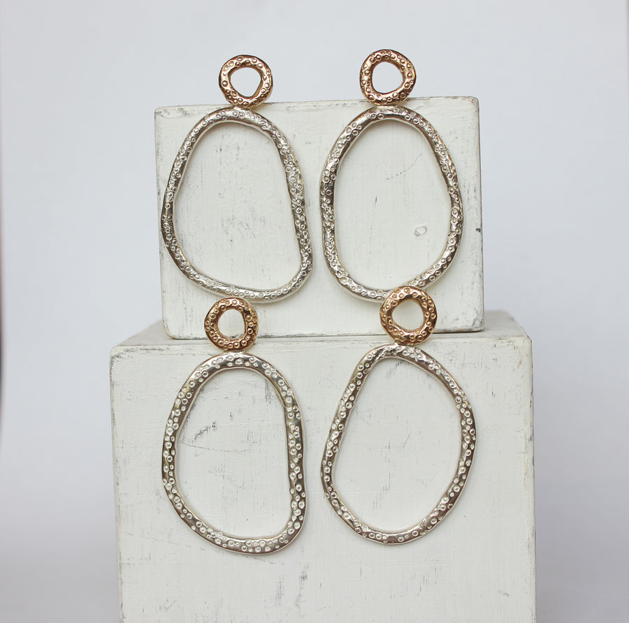 Jettison earrings 9ct Gold and silver