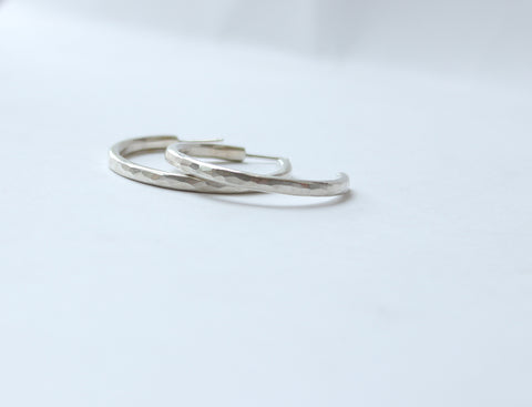 Faceted Silver Hoops