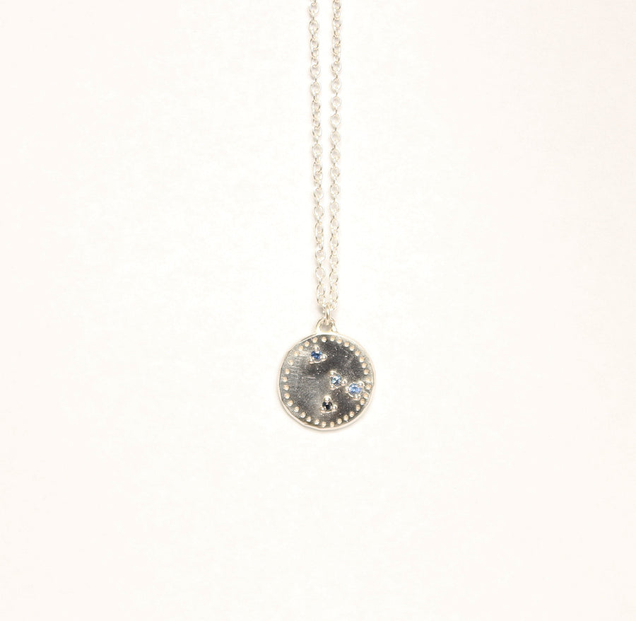Fortunes necklace with scattered navy sapphires
