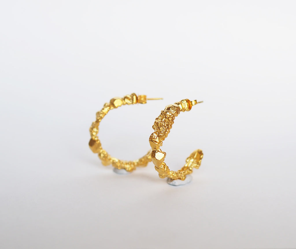 Gem cluster hoops - Gold plated