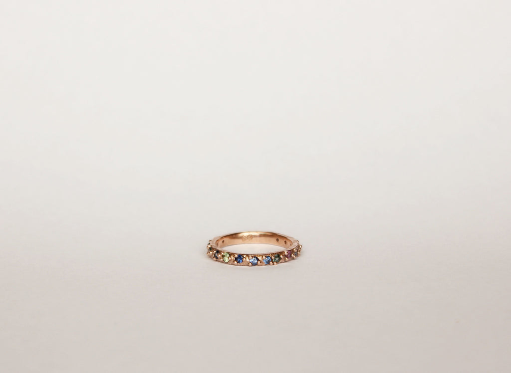 rose gold ring band with sapphires