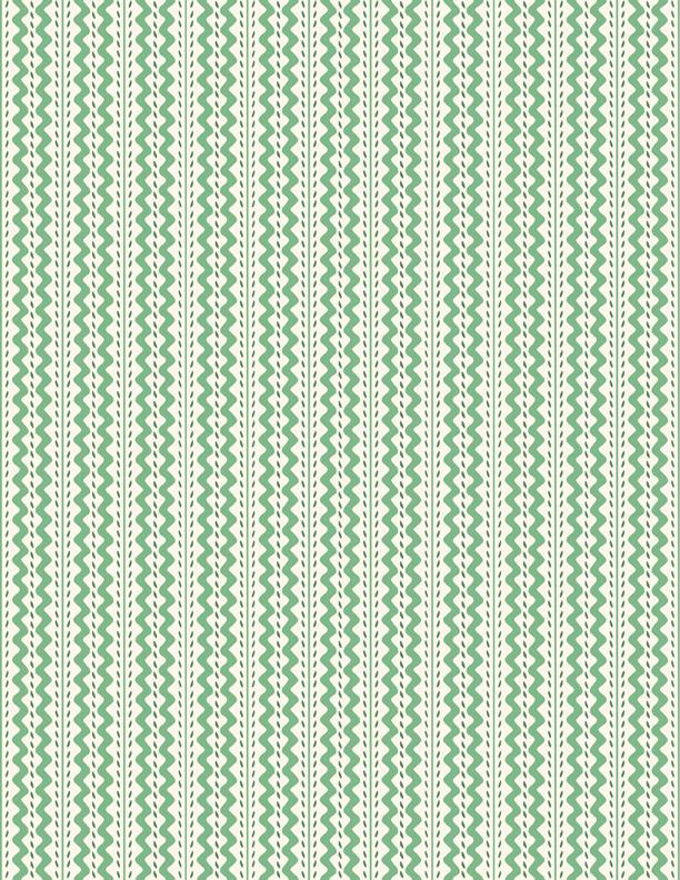 Back Porch Prints Basic - Green Stripe on White