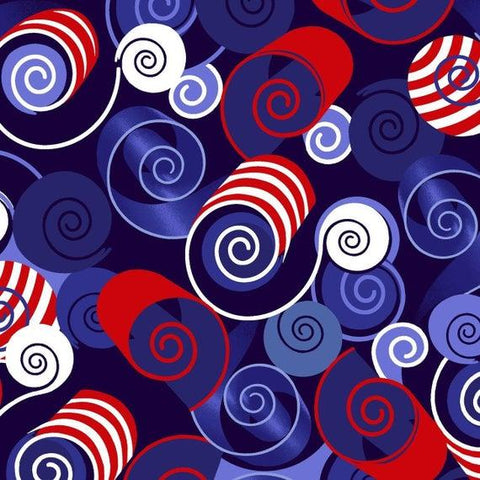 Red, White & Starry Blue Swirl