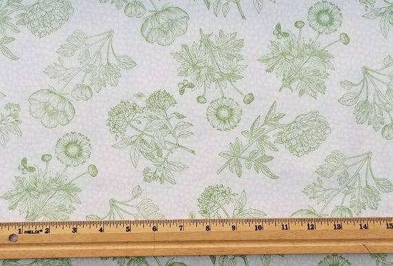 Flower Show - Green Toile on Cream Background
