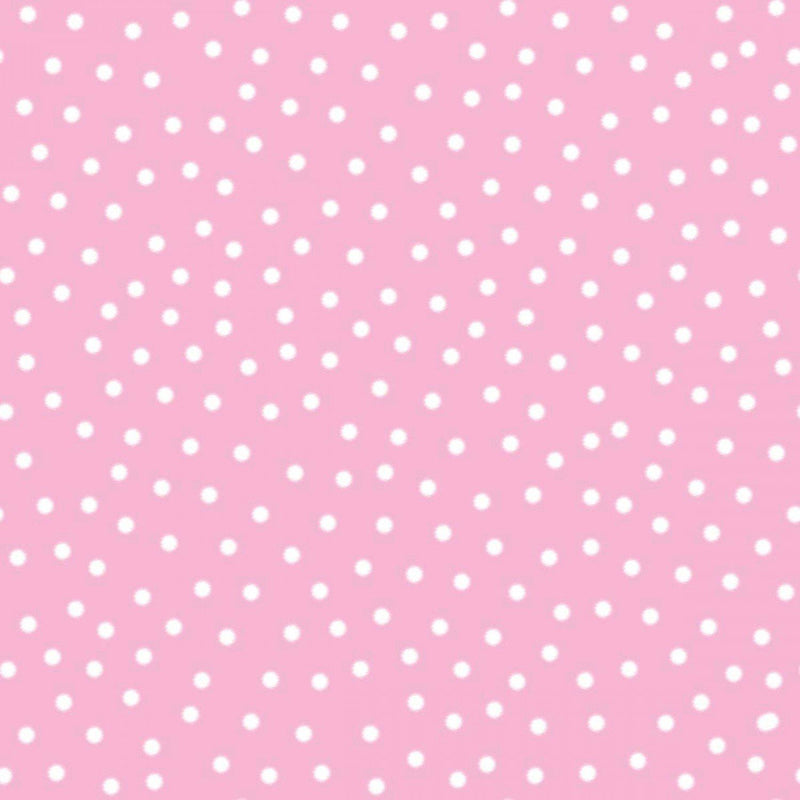 Itty Bitty White Polka Dots on Pink Flannel