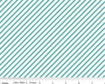 Unforgettable - Teal and White Diagonal Stripe