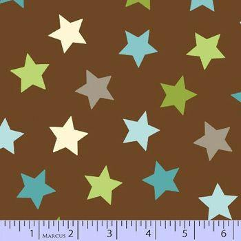 Zig Zag Zoo - Brown Stars Flannel