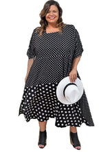 Load image into Gallery viewer, Black & White Dot Plus Size Dress