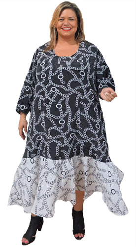 Plus Size Black & White Dress