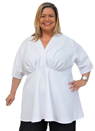 Plus Size White Empire Top