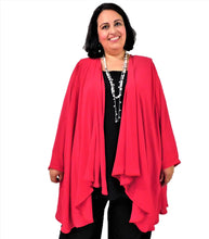 Load image into Gallery viewer, Red Draped Front Jacket