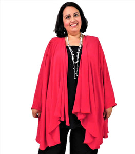 Red Draped Front Jacket