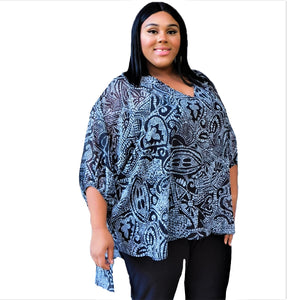 High Low Batik Print Top