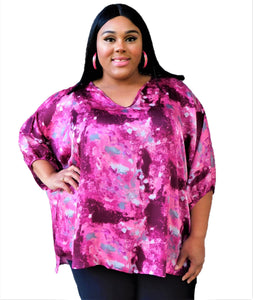 High Low Pink Print Top