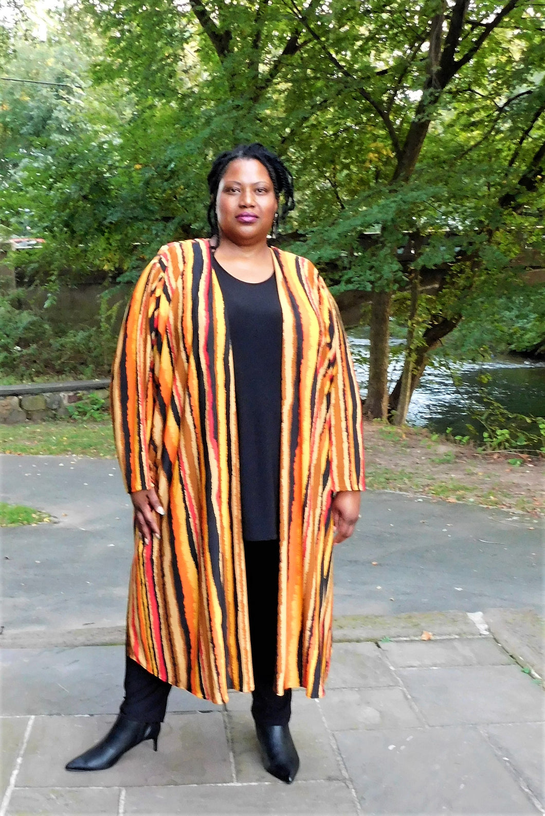 Fabulous Stripe Duster Coat