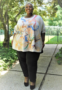 Plus Size Hand-painted Star Top