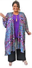 Load image into Gallery viewer, Violet Print Kimono Duster