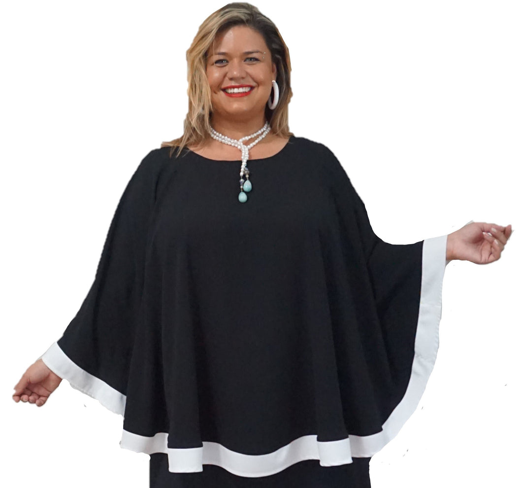 Fabulous Black & White Cape Top