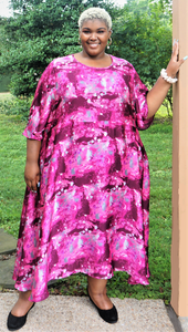 Plus Size Pink Print Dress