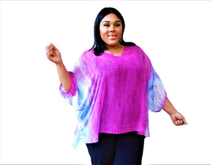 Plus Size Pink Print Top