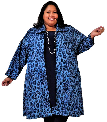 Denim Animal Print Plus Size Jacket