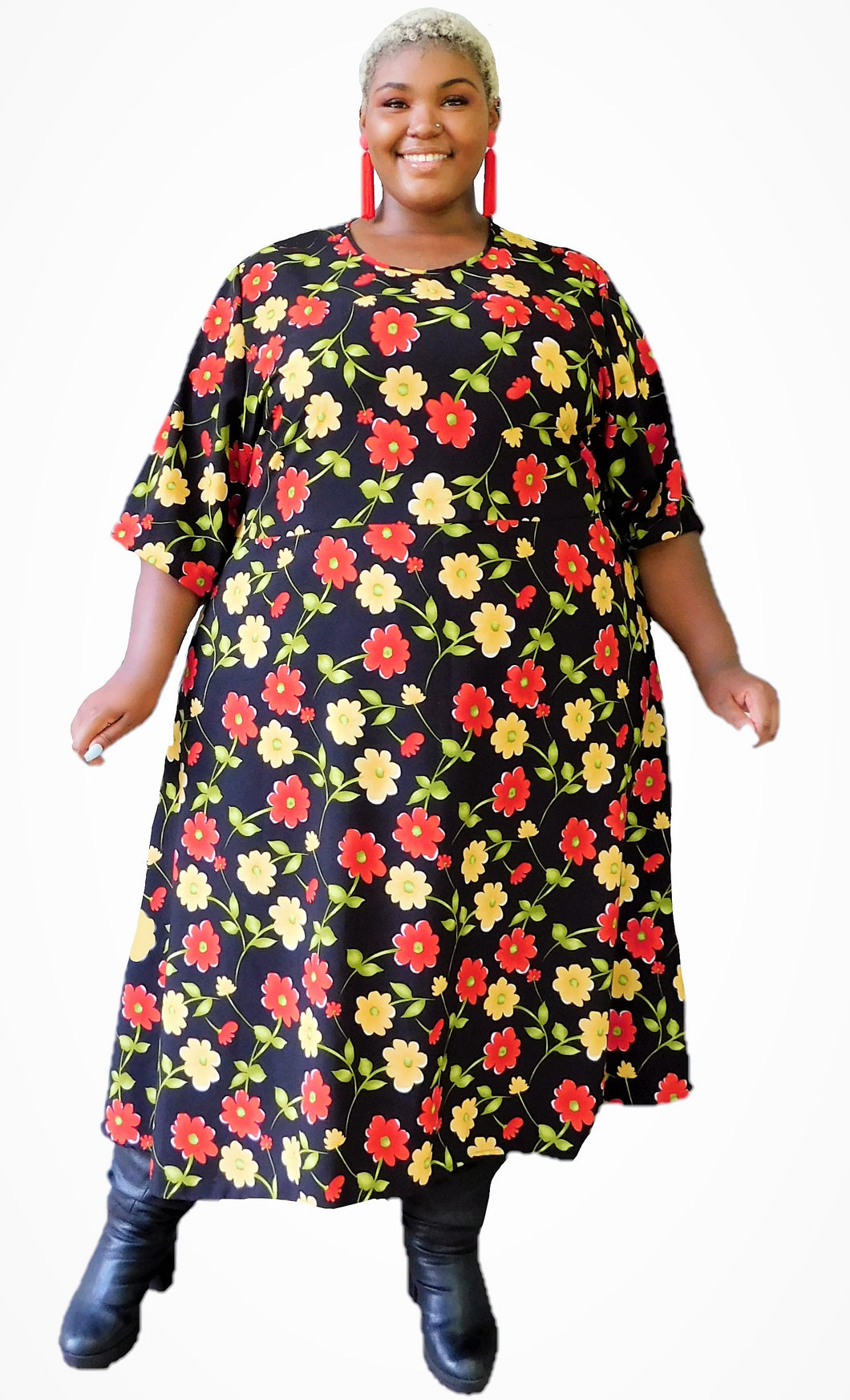 Red Floral Circle Dress