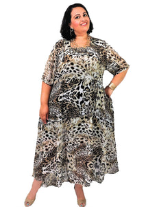 Plus Size Animal Print Circle Dress