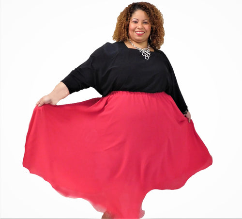 Red Plus Size Skirt