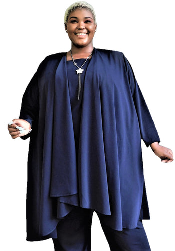 Navy Draped Duster