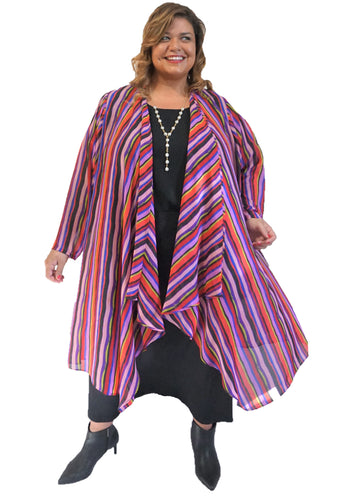 Stripe Plus Size Duster
