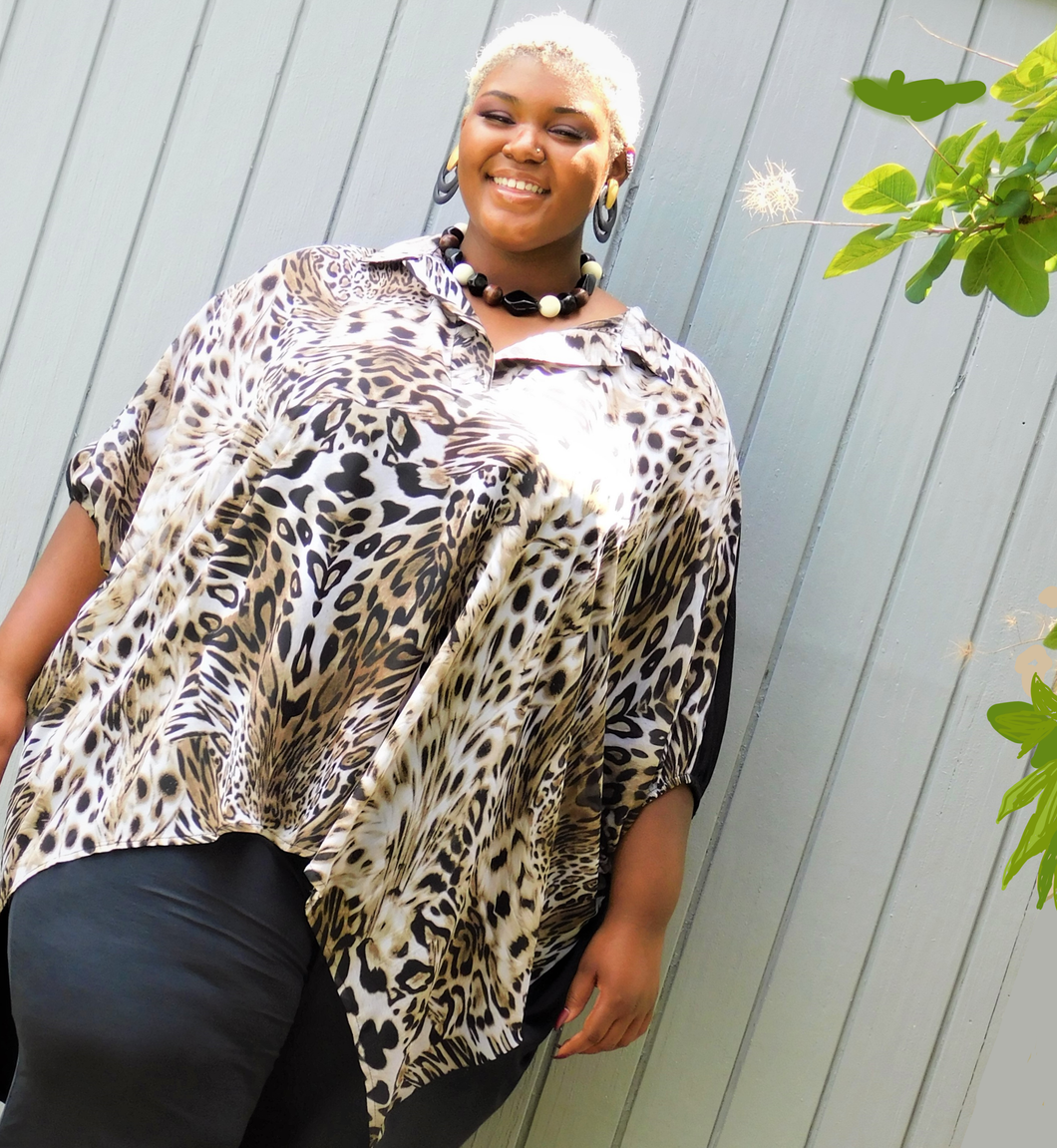 Chic Plus Size Animal Print Top