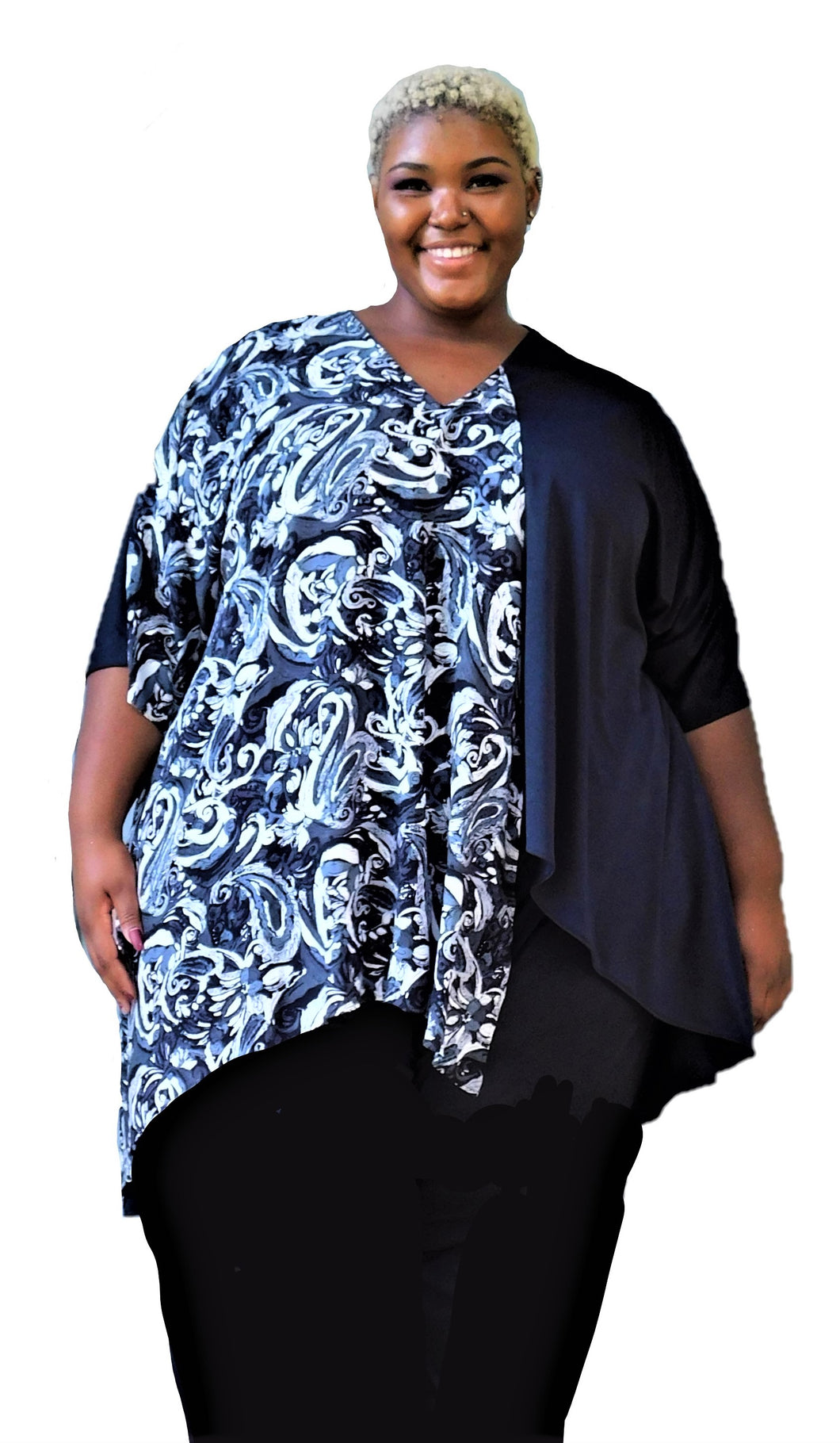 Draped High Low Plus Size Top